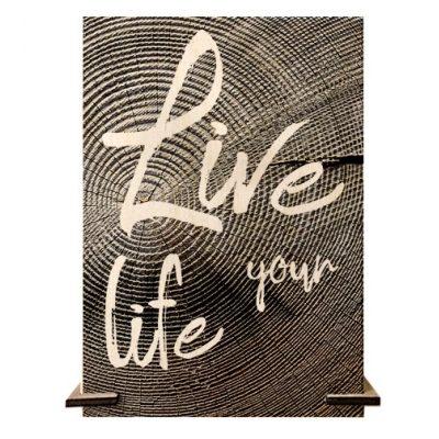 Открытка деревянная LIVE your LIFE