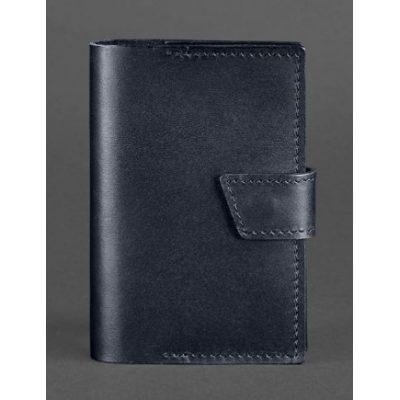 Кожаная обложка для документов 4.0 темно-синяя