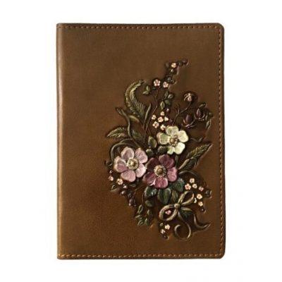 Холдер для Документов Travel Wallet ЦВЕТЫ коричневый