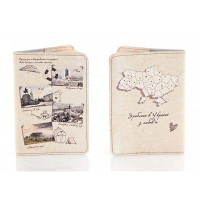 Обложка для паспорта из нат. кожи ПУТЕШЕСТВИЕ по УКРАИНЕ