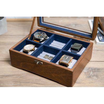 Деревянная шкатулка для часов с выдвижным ящиком DABO Hetch DS15