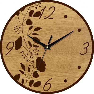Часы деревянные настенные ЦВЕТОЧНЫЙ УЗОР