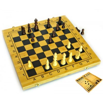Набор Шахматы и Нарды 2 в 1 БАМБУК