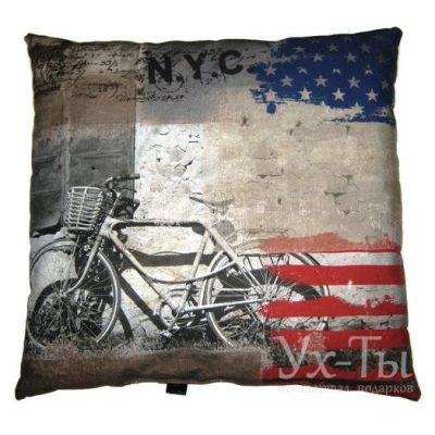 Дизайнерская подушка 'Ретро-велосипед'