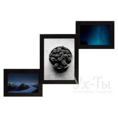 Мультирамка 'Лесенка' на 3 фото Черная