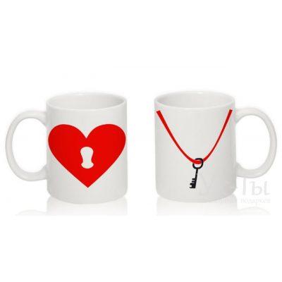 Парные чашки с надписью 'Ключик и сердце', красный