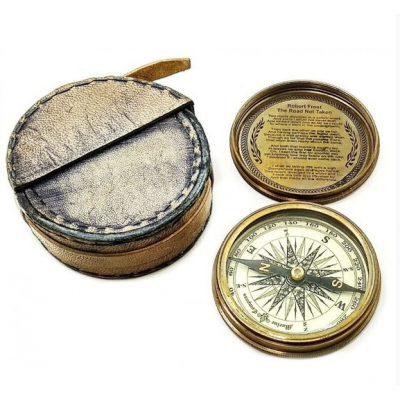 Компас бронзовый в кожаном чехле NORD