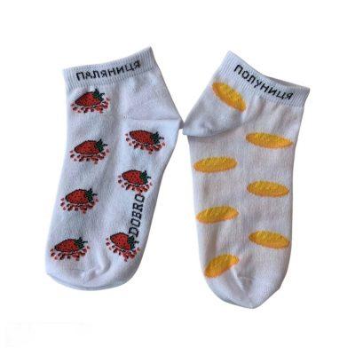 Шкарпетки ЗЕЛЕНІ в БІЛИЙ ГОРОШОК