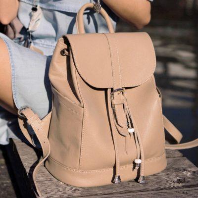 Кожаный рюкзак OLSEN крем-брюле
