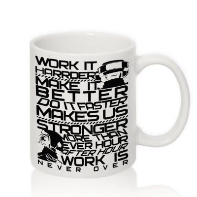 Чашка с надписью 'WORK IT'