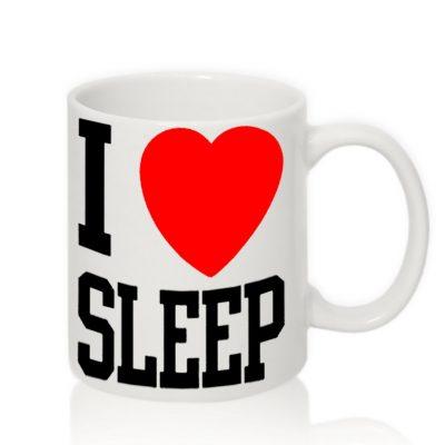 Чашка с надписью 'I LOVE SLEEP'