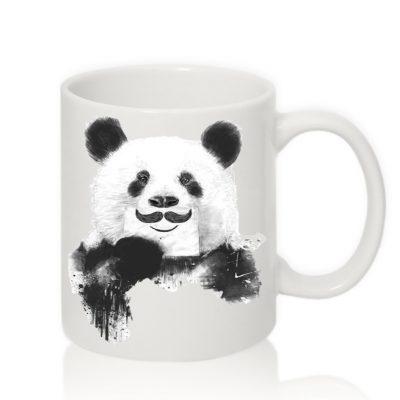 Чашка с надписью 'Панда Усы'