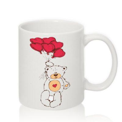 Авторская чашка 'Мишка с сердечками'