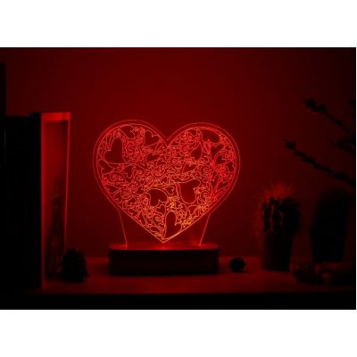Светильник 3D-effect LOVE HEART