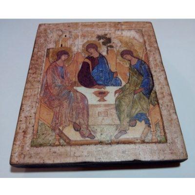 Икона Святой Троицы на ковчежной доске