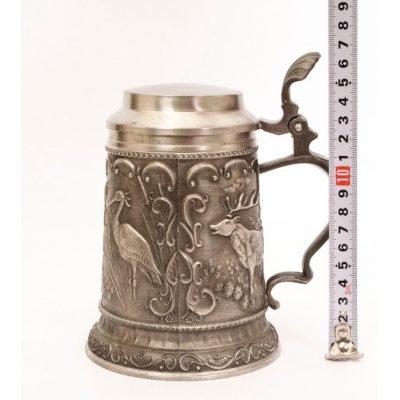 Пивной коллекционный оловянный бокал ОХОТА