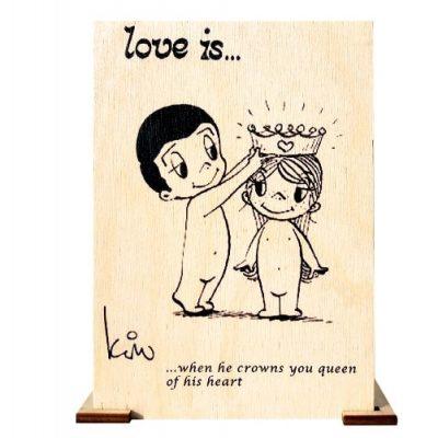Открытка деревянная LOVE is ...