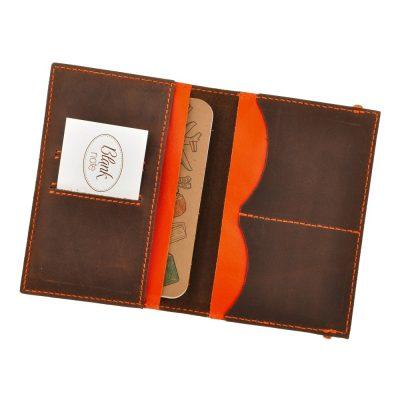 Кожаная обложка для паспорта 2.0 ОРЕХ АПЕЛЬСИН+ блокнотик