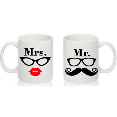 Парные чашки Mr. & Mrs. очкарики